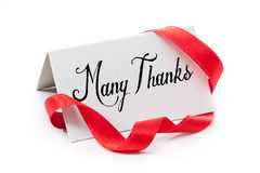 Many thanks. Handwritten label, isolated in white Stock Photos