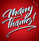MANY THANKS hand lettering (vector) Royalty Free Stock Image