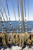 Many thick ropes bend together on a ship. Many brownish thick ropes bend together in a sailing ship Royalty Free Stock Photo