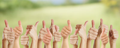 Many thumbs go up Royalty Free Stock Photo