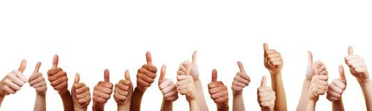 Many thumbs point upwards as a congratulation stock photo