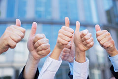 Many thumbs pointing up royalty free stock photography