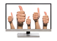 Many thumbs up liking Royalty Free Stock Photography