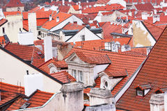 Many tiled roofs in Prague.  royalty free stock photography