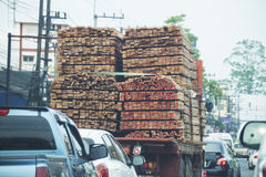 Many Timber on truck. wood logs transportation. Stock Photography