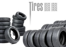 Many tires on white background Stock Photos