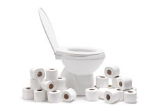 Many toilet paper rolls around a toilet bowl Royalty Free Stock Photos