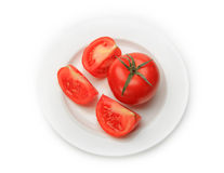 Many tomatoes. Isolated on white background Royalty Free Stock Images