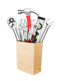 Many Tools in paper bag Royalty Free Stock Photography