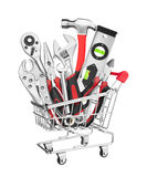 Many Tools in shopping cart Royalty Free Stock Image