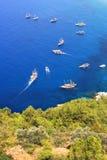Many touring boats Stock Photo