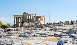 Many tourist near Porch of the Caryatids, Athens Royalty Free Stock Images