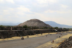 Many tourist on the Pyramids of Teotihuacan, Mexico. Stock Photos