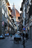 Many tourist on the street, near the cathedral Santa Maria del Fiore in Florence Royalty Free Stock Photography