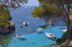 Many Tourists at the Bay of Cala Pi in Mallorca, Spain ( Baleari Royalty Free Stock Photography
