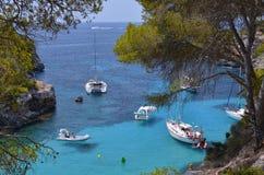 Many Tourists at the Bay of Cala Pi in Mallorca, Spain ( Baleari Royalty Free Stock Photography