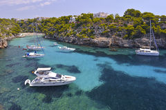 Many Tourists at the Bay of Cala Pi in Mallorca, Spain ( Baleari Stock Images