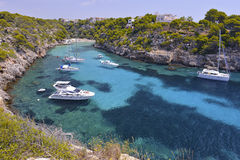 Many Tourists at the Bay of Cala Pi in Mallorca, Spain ( Balearic Islands ) royalty free stock images