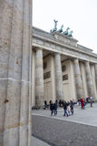 Many tourists at brandenburger tor in berlin Stock Images