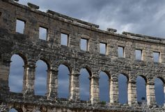 Coliseum.Pula.Croatia.the ruins of the amphitheater. Many tourists come to see the ruins of an old amphitheater, patronage by the  Romans.the place where Stock Photo