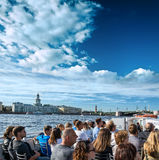 Many tourists enjoy boat trips in St. Petersburg Royalty Free Stock Images