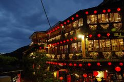 Jiufen village at night, in Taiwan Royalty Free Stock Photography