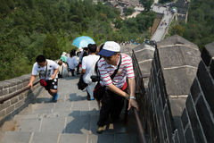 Many tourists on the Great Wall of China Stock Photos