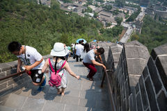 Many tourists on the Great Wall of China Stock Photography
