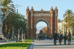 Many tourists near the Arc de Triomphe, Barcelona, Spain Royalty Free Stock Photo