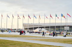 Many tourists  in Olympic park. Russia,Sochi Royalty Free Stock Photography