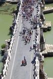 Many tourists on Sant' Angelo Bridge at summer Stock Photos