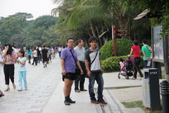 Many of the tourists in Shenzhen bay park CHINA AISA Royalty Free Stock Photography