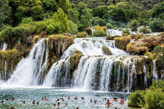 Many tourists are swimming in the waterfalls, Krka, Croatia, nat Stock Image