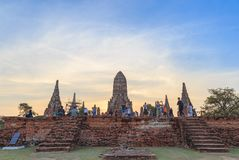 Many tourists travel and take a photo at Wat Chai Wattanaram at stock photography