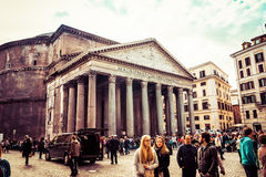 Many tourists visit the ancient Pantheon in Rome, Italy Stock Image