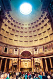 Many tourists visit the ancient Pantheon in Rome, Italy Royalty Free Stock Photos