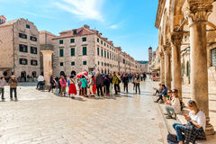 Many tourists visit the Old Town of Dubrovnik Stock Images