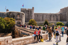 Many tourists visit the Old Town of Dubrovnik, a UNESCO's World Heritage Site Stock Photo