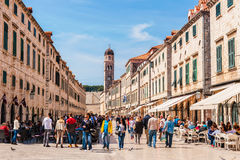 Many tourists visit the Old Town of Dubrovnik, a UNESCO's World Heritage Site Royalty Free Stock Photos