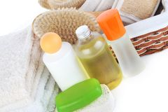 Many towels and accessories to bathing Royalty Free Stock Images
