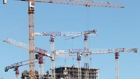 Many tower cranes stock video footage