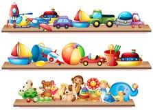 Many toys on wooden shelves Stock Image