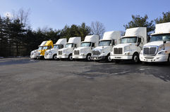 Many tractor trailers. Row of large tractor trailers ready for use Stock Photo