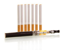 Many traditional and one electronic cigarette Royalty Free Stock Photo