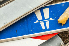 Many traffic signs lying at the ground Royalty Free Stock Photography