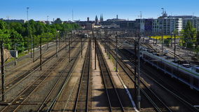 Many trains on the railway junction in Helsinki, Finland. Time Lapse. stock video