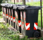 Many trash bins for separate waste collection 3 Stock Photo