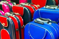 Many travel suitcases. In the shop Royalty Free Stock Image