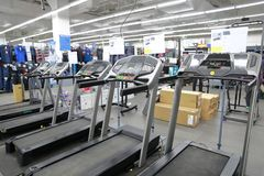 Many treadmill in shanghai decathlon shop. For sale stock photography