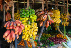 Many tropical fruits in outdoor market. A lot of tropical fruits in outdoor market in Sri-Lanka Stock Photo